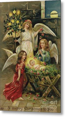 Christmas Nativity Scene Metal Print by English School