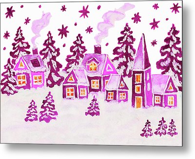 Christmas Picture In Pink Colours Metal Print