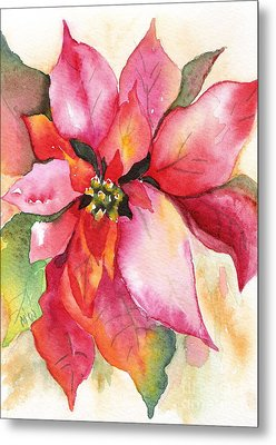 Christmas Poinsettia Metal Print by Marsha Woods
