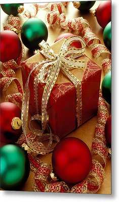 Christmas Present And Ornaments Metal Print by Garry Gay