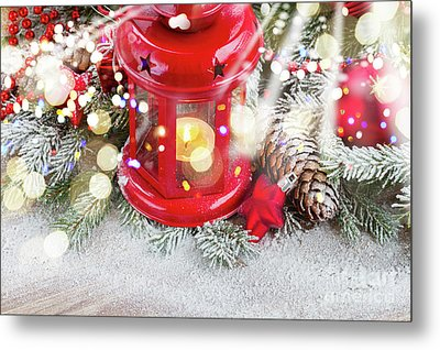 Christmas Red Lantern  Metal Print by Anastasy Yarmolovich