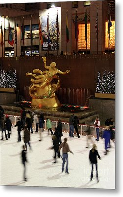 Christmas Skating Ny Style Metal Print by Karol Livote