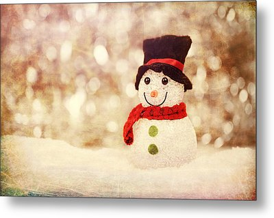 Metal Print featuring the photograph Christmas Snowman by Bellesouth Studio