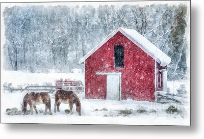 Christmas Snowstorm Vermont Watercolor Metal Print by Edward Fielding