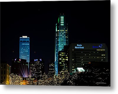 Christmas Time In Omaha Metal Print by Edward Peterson