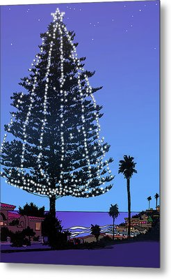 Christmas Tree At Moonlight Beach Encinitas, California Metal Print