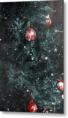 Christmas Tree In Winter Snow. Card Background Metal Print