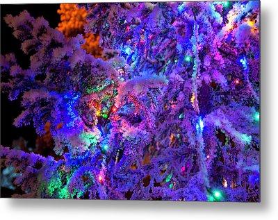 Christmas Tree Night Decoration Metal Print