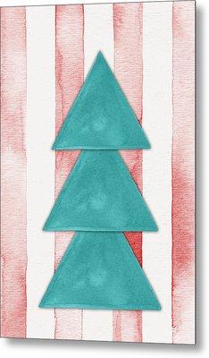 Christmas Tree Watercolor Metal Print by Nordic Print Studio