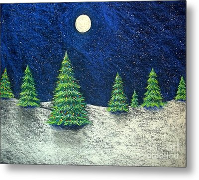 Christmas Trees In The Snow Metal Print by Nancy Mueller