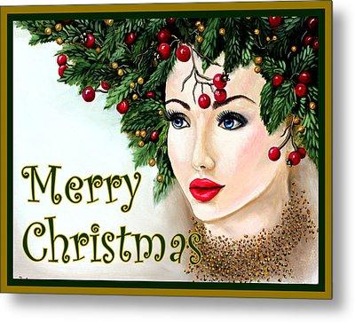 Christmas Woman-green/gold Metal Print by Pechez Sepehri