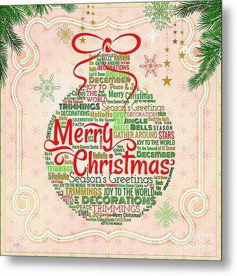 Christmas Words Ornament Metal Print by Bedros Awak