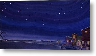 Metal Print featuring the painting Christmastime In Prairie Town by Scott Kirby