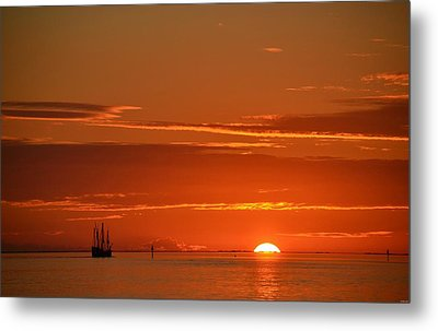 Christopher Columbus Replica Wooden Sailing Ship Nina Sails Off Into The Sunset Metal Print by Jeff at JSJ Photography