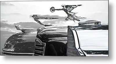 Chrome Hood Ornaments Vintage Cars Metal Print by Larry Butterworth
