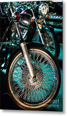 Chrome Rim And Front Fork Of Vintage Style Motorcycle Metal Print by Jason Rosette