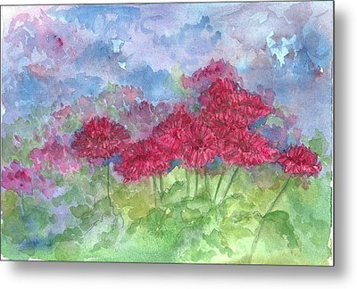 Metal Print featuring the painting Chrysanthemums by Cathie Richardson