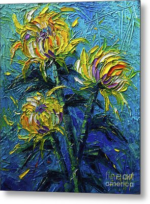 Chrysanthemums Etude Metal Print by Mona Edulesco