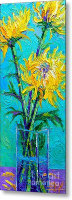Chrysanthemums In A Vase Metal Print by Mona Edulesco