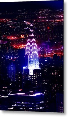 Chrysler Building At Night Metal Print by Az Jackson