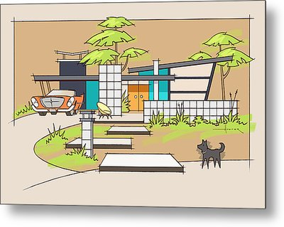 Chrysler With Black Dog, A Mid-century Home Metal Print