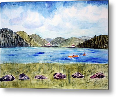 Metal Print featuring the painting Chrystal Lake  Barton Vt  by Donna Walsh