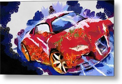 Chubby Car Red Metal Print by Catherine Lott
