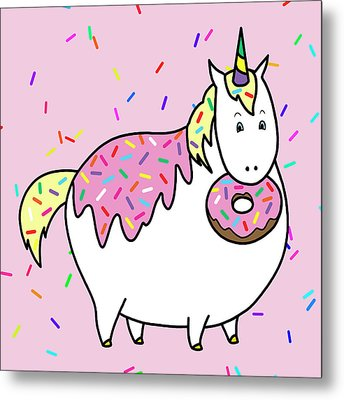 Chubby Unicorn Eating Sprinkle Doughnut Metal Print by Crista Forest