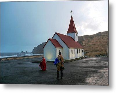 Metal Print featuring the photograph Church Above Reynisfjara Black Sand Beach, Iceland by Dubi Roman