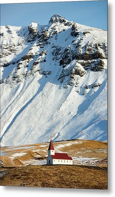Metal Print featuring the photograph Church And Mountains In Winter Vik Iceland by Matthias Hauser