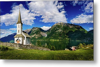 Church And Waterfall Metal Print by Dmytro Korol