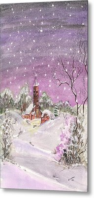 Metal Print featuring the digital art Church In The Snow by Darren Cannell