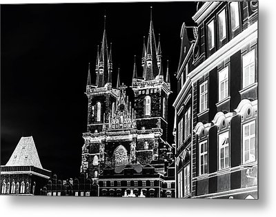 Metal Print featuring the photograph Church Of Our Lady Before Tyn. Night Prague by Jenny Rainbow
