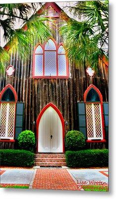 Church Of The Cross Bluffton Sc Entrance Metal Print by Lisa Wooten