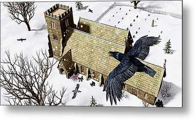 Church Ravens Metal Print by Peter J Sucy