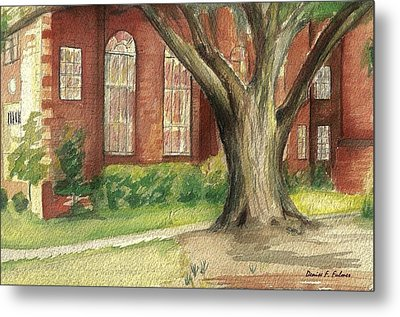 Metal Print featuring the painting Church Tree by Denise Fulmer