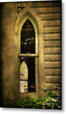 Church Window Church Bell Metal Print by Lois Bryan