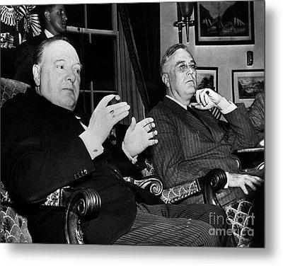 Churchill & Roosevelt Metal Print by Granger