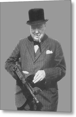 Churchill Posing With A Tommy Gun Metal Print