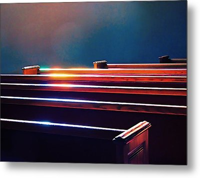Churchlight -- Pews Under Stained Glass Metal Print