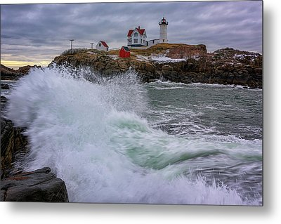 Metal Print featuring the photograph Churning Seas At Cape Neddick by Rick Berk