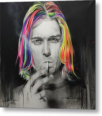 Kurt Cobain - ' Cigarette Burns ' Metal Print by Christian Chapman Art