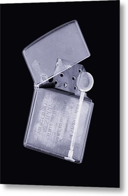 Cigarette Lighter, Simulated X-ray Metal Print by Mark Sykes