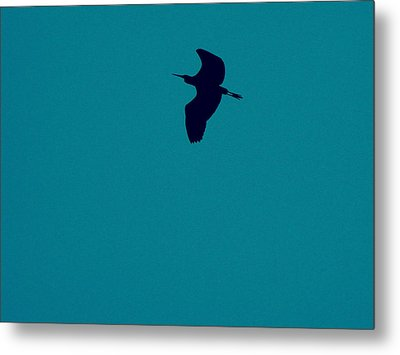 Metal Print featuring the digital art Cigogne En Silhouette by Marc Philippe Joly