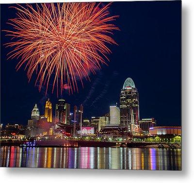 Cincinnati Fireworks Metal Print by Scott Meyer