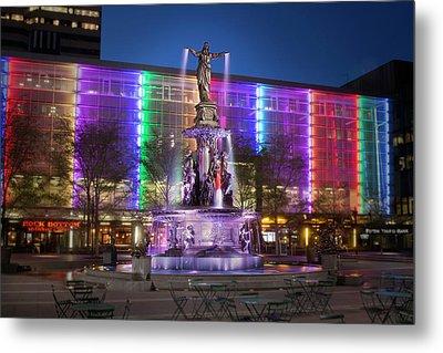 Cincinnati Fountain Square Metal Print by Scott Meyer