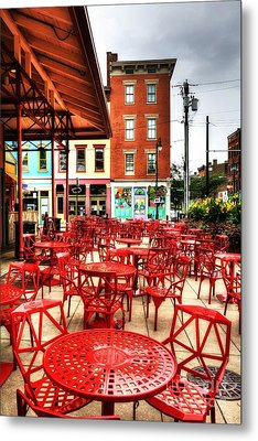 Cincinnati Red At Findlay Market Metal Print by Mel Steinhauer