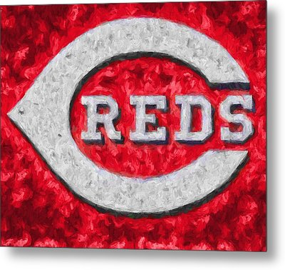 Cincinnati Reds On Canvas Metal Print by Dan Sproul