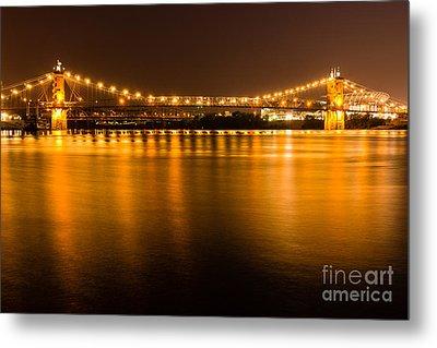 Cincinnati Roebling Bridge At Night Metal Print by Paul Velgos