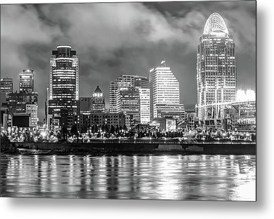Metal Print featuring the photograph Cincinnati Skyline And The Great American Ballpark - Black And White by Gregory Ballos